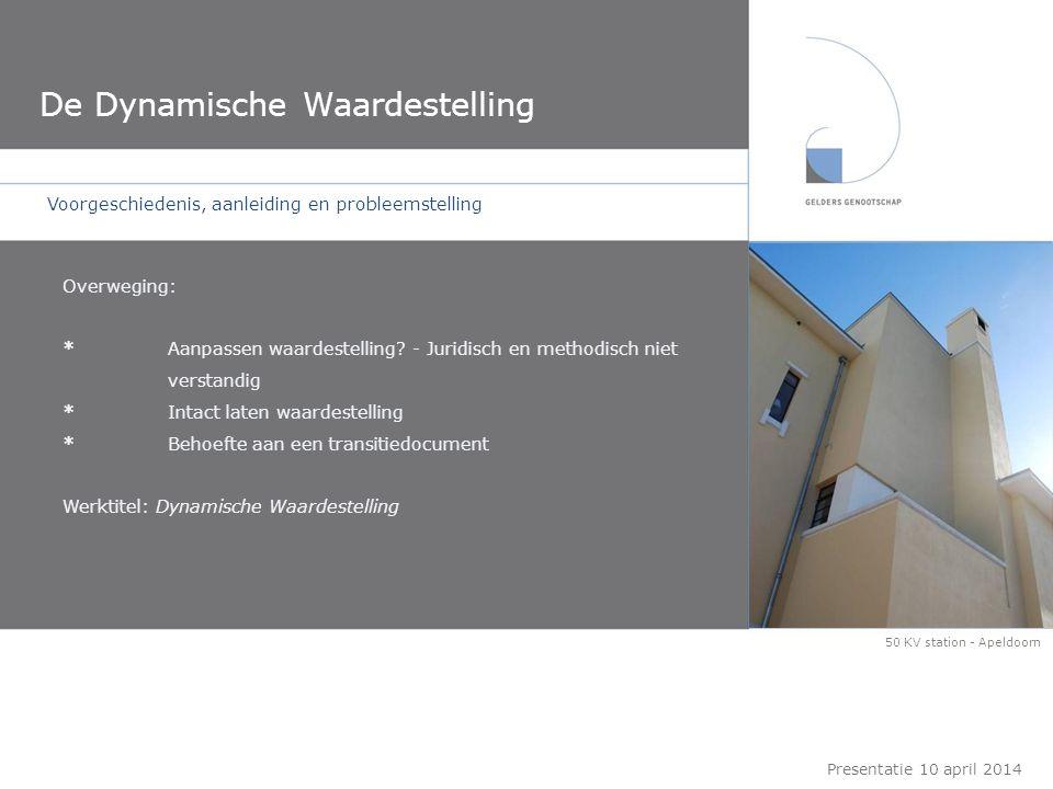 De Dynamische Waardestelling Presentatie 10 april 2014 Voorgeschiedenis, aanleiding en probleemstelling Doel: *Inzicht in interventiemogelijkheden vanuit CH *Handreiking aan de architect *Handreiking/'toetstingskader' aan de commissie(s) *Handreiking mogelijkheden voor eigenaar - initiatiefnemer De grote Enk - Akzo - Arnhem