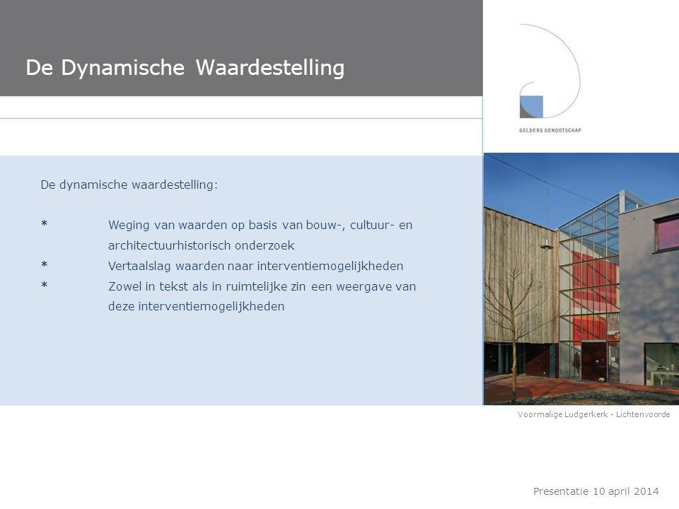 De Dynamische Waardestelling Presentatie 10 april 2014 De dynamische waardestelling: *Weging van waarden op basis van bouw-, cultuur- en architectuurh