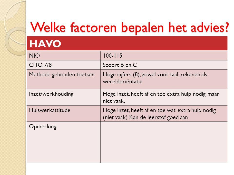 Welke factoren bepalen het advies? HAVO NIO100-115 CITO 7/8Scoort B en C Methode gebonden toetsenHoge cijfers (8), zowel voor taal, rekenen als wereld
