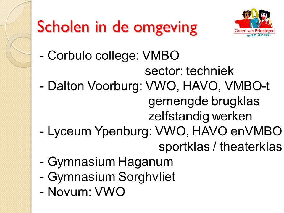 - Corbulo college: VMBO sector: techniek - Dalton Voorburg: VWO, HAVO, VMBO-t gemengde brugklas zelfstandig werken - Lyceum Ypenburg: VWO, HAVO enVMBO