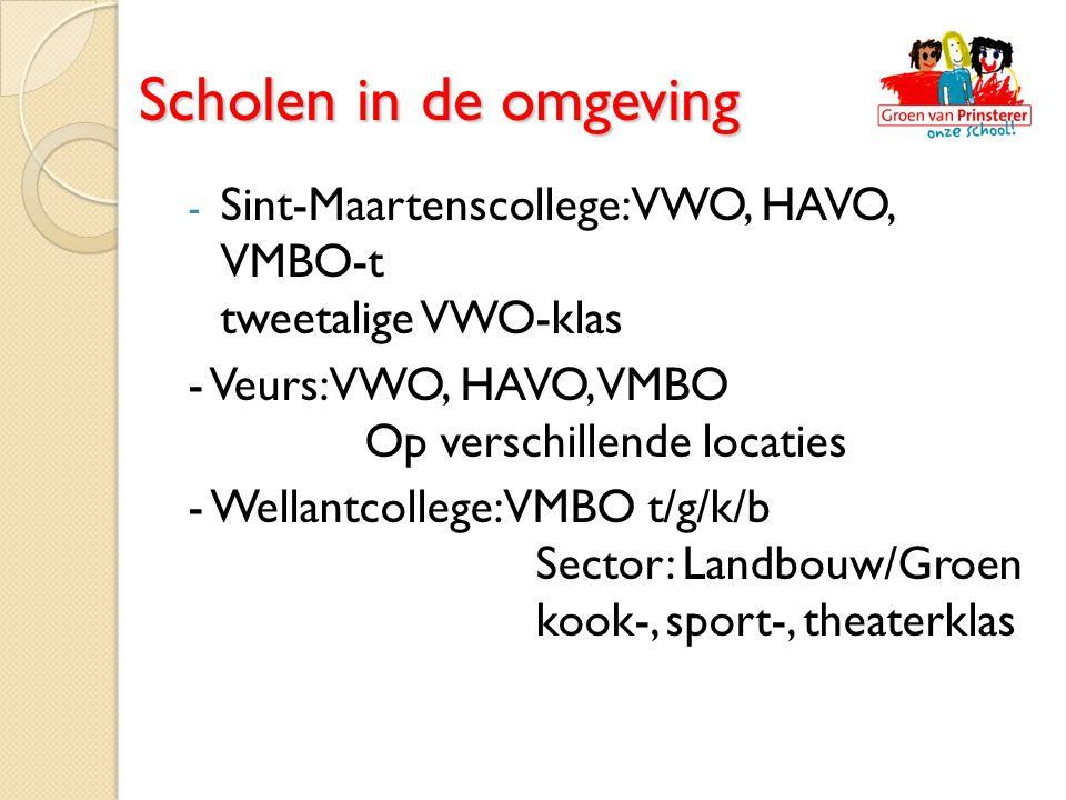 - Sint-Maartenscollege: VWO, HAVO, VMBO-t tweetalige VWO-klas - Veurs: VWO, HAVO, VMBO Op verschillende locaties - Wellantcollege: VMBO t/g/k/b Sector