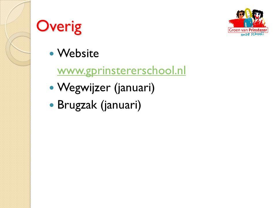 Overig Website www.gprinstererschool.nl Wegwijzer (januari) Brugzak (januari)