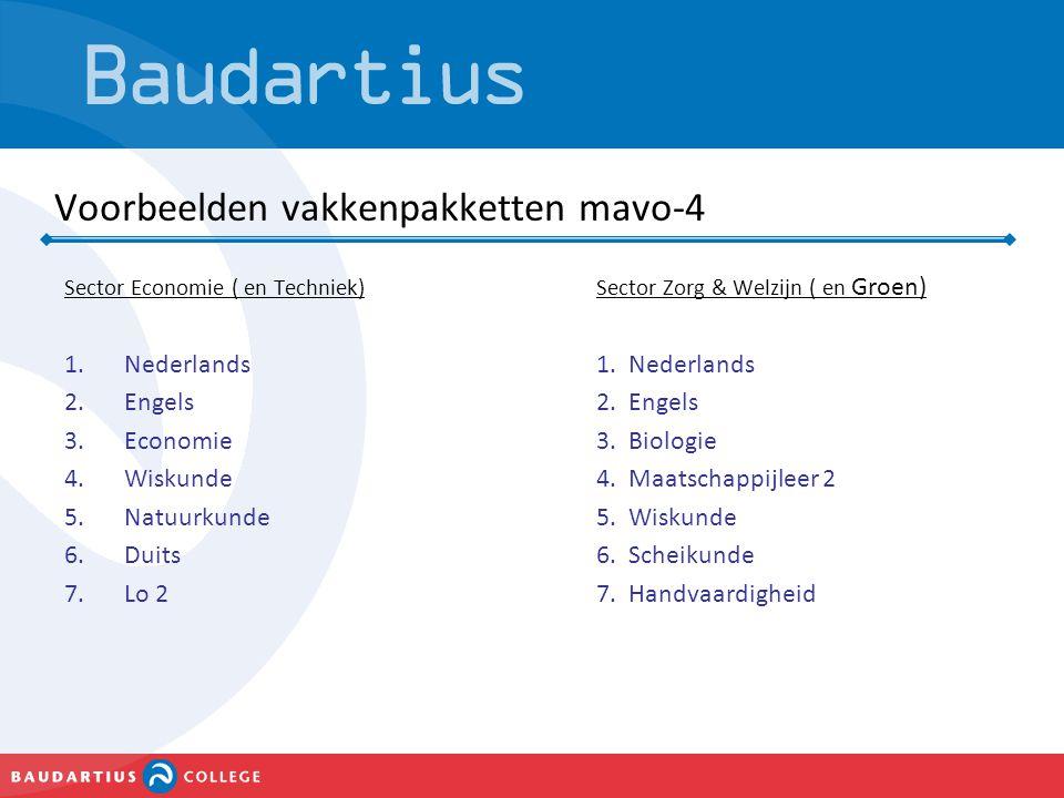 Voorbeelden vakkenpakketten mavo-4 Sector Economie ( en Techniek)Sector Zorg & Welzijn ( en Groen) 1.Nederlands1. Nederlands 2.Engels2. Engels 3.Econo