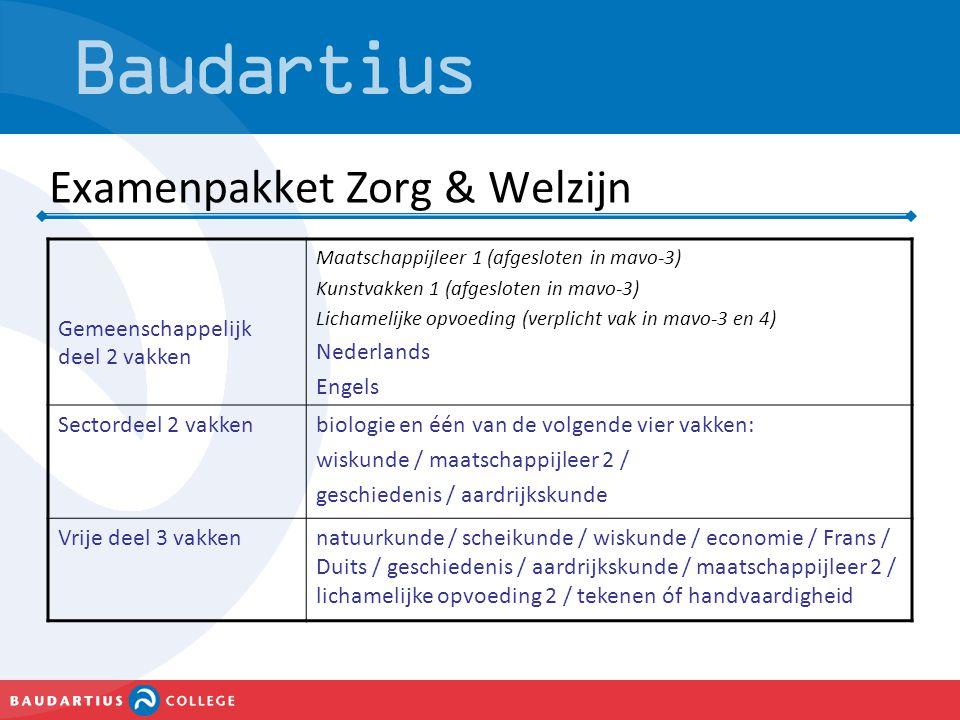 Examenpakket Zorg & Welzijn Gemeenschappelijk deel 2 vakken Maatschappijleer 1 (afgesloten in mavo-3) Kunstvakken 1 (afgesloten in mavo-3) Lichamelijk