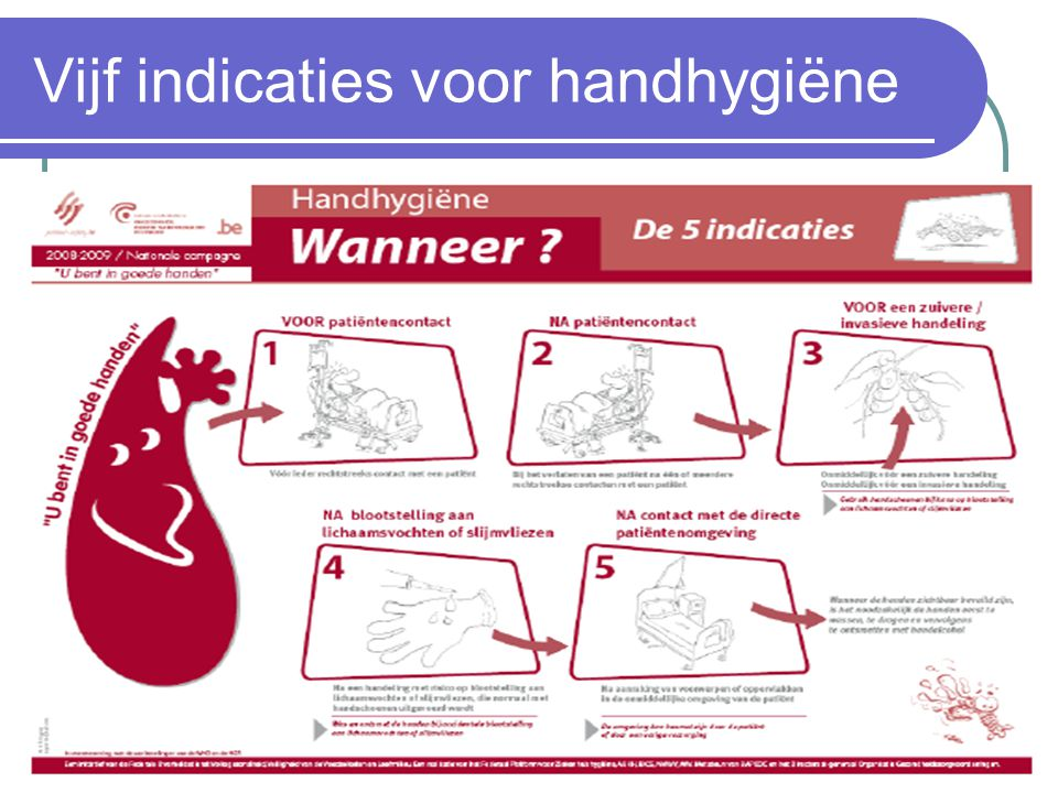 Vijf indicaties voor handhygiëne