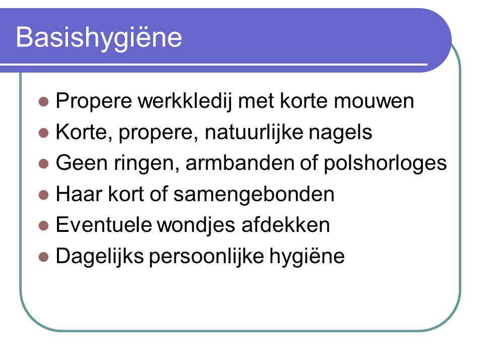 Hygiëne van de bewoner Handen regelmatig wassen (bv.