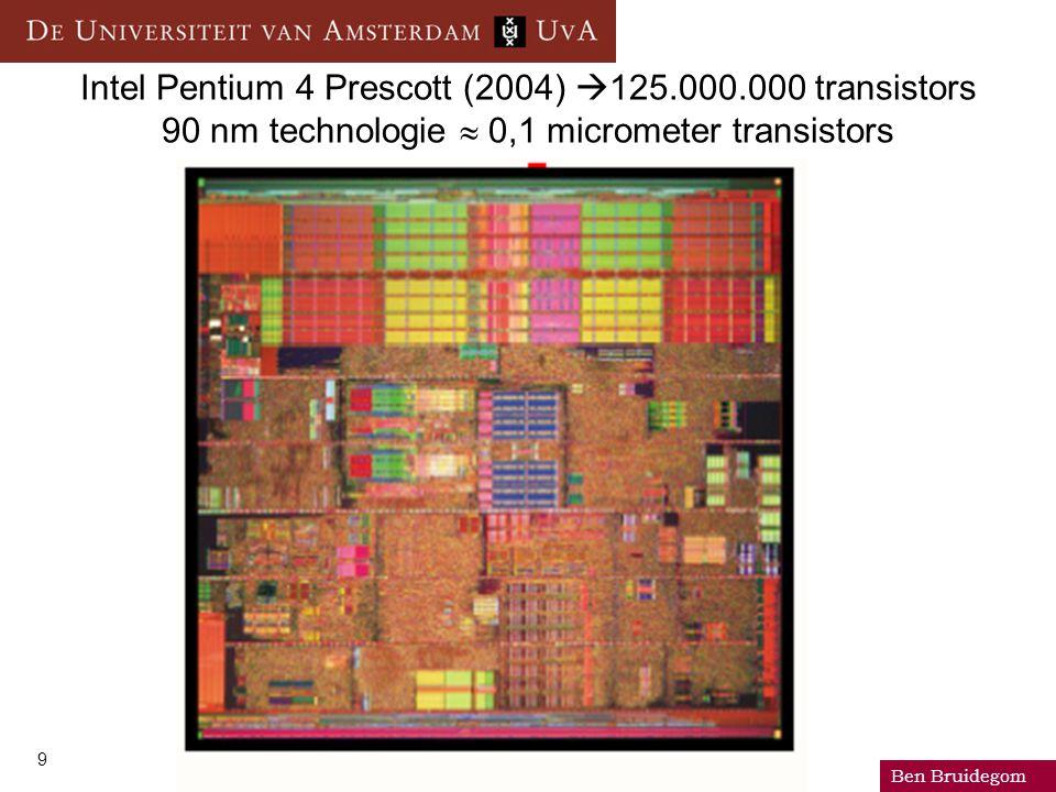 Ben Bruidegom 9 Intel Pentium 4 Prescott (2004)  125.000.000 transistors 90 nm technologie  0,1 micrometer transistors