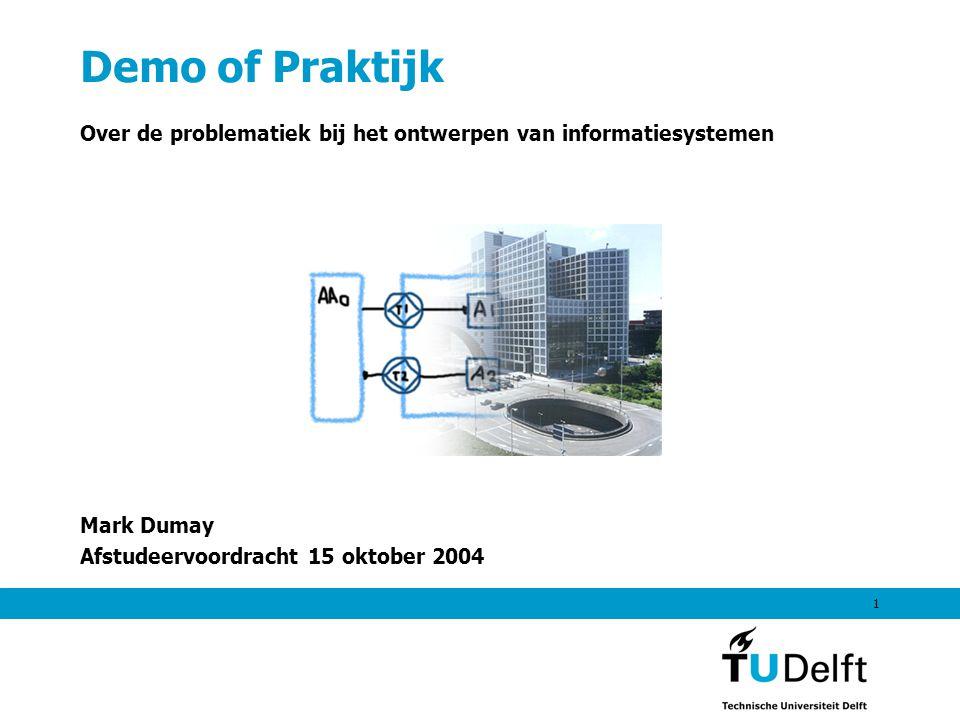 1 Demo of Praktijk Over de problematiek bij het ontwerpen van informatiesystemen Mark Dumay Afstudeervoordracht 15 oktober 2004