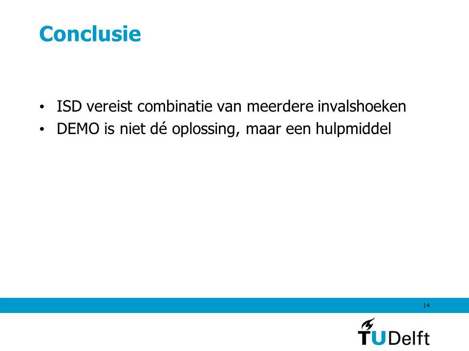 14 Conclusie ISD vereist combinatie van meerdere invalshoeken DEMO is niet dé oplossing, maar een hulpmiddel