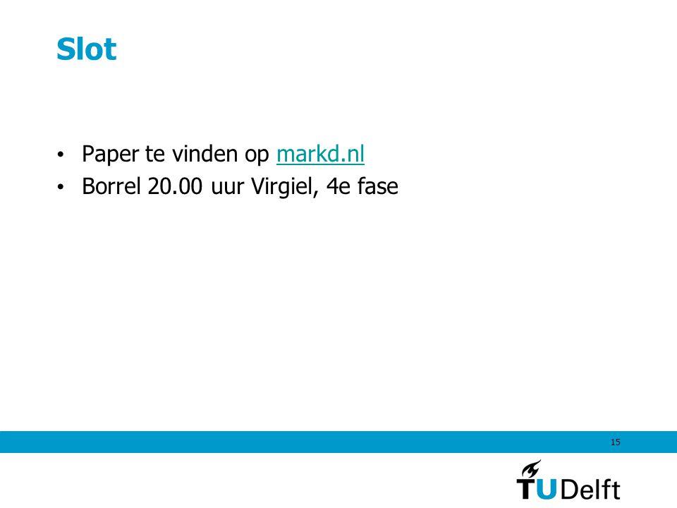 15 Slot Paper te vinden op markd.nlmarkd.nl Borrel 20.00 uur Virgiel, 4e fase