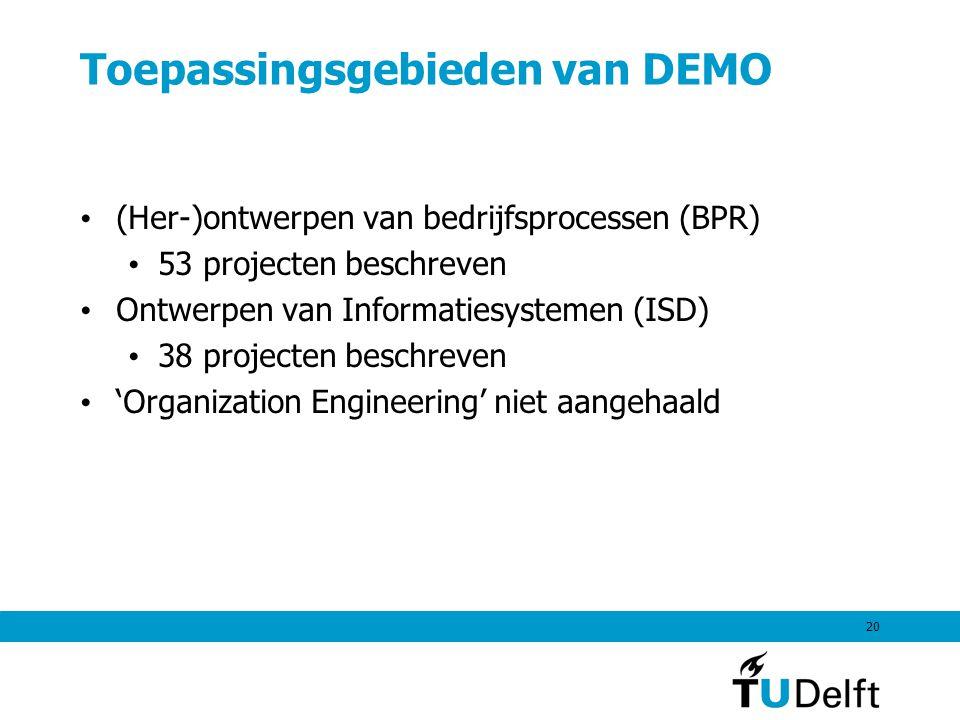 20 Toepassingsgebieden van DEMO (Her-)ontwerpen van bedrijfsprocessen (BPR) 53 projecten beschreven Ontwerpen van Informatiesystemen (ISD) 38 projecten beschreven 'Organization Engineering' niet aangehaald