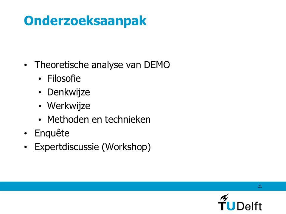 21 Onderzoeksaanpak Theoretische analyse van DEMO Filosofie Denkwijze Werkwijze Methoden en technieken Enquête Expertdiscussie (Workshop)