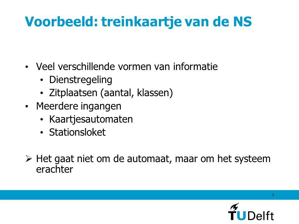 3 Voorbeeld: treinkaartje van de NS Veel verschillende vormen van informatie Dienstregeling Zitplaatsen (aantal, klassen) Meerdere ingangen Kaartjesautomaten Stationsloket  Het gaat niet om de automaat, maar om het systeem erachter