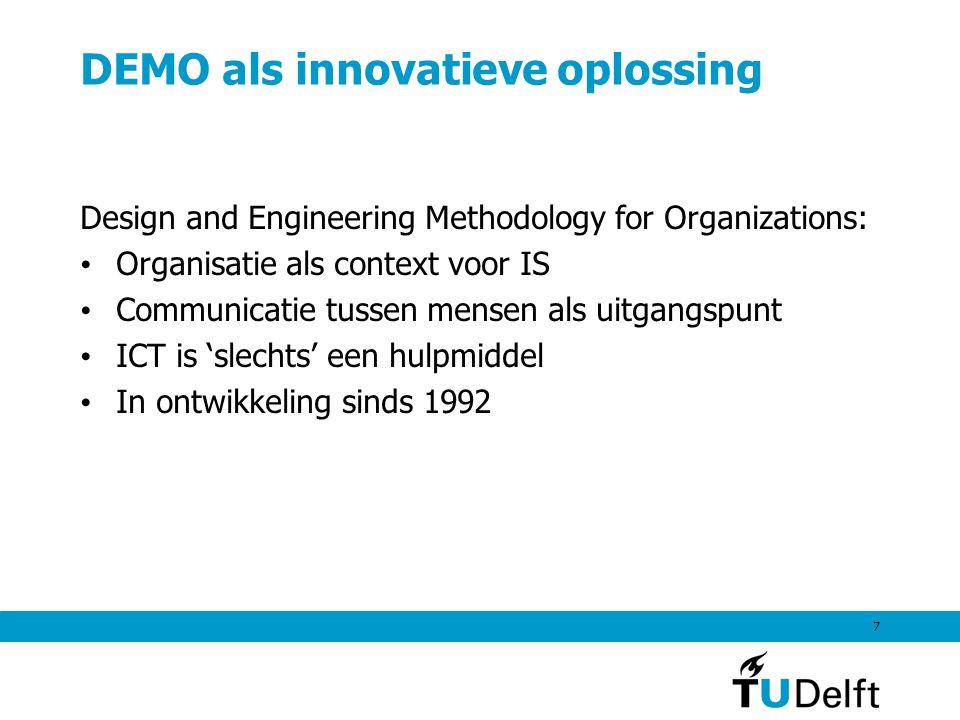 7 DEMO als innovatieve oplossing Design and Engineering Methodology for Organizations: Organisatie als context voor IS Communicatie tussen mensen als uitgangspunt ICT is 'slechts' een hulpmiddel In ontwikkeling sinds 1992