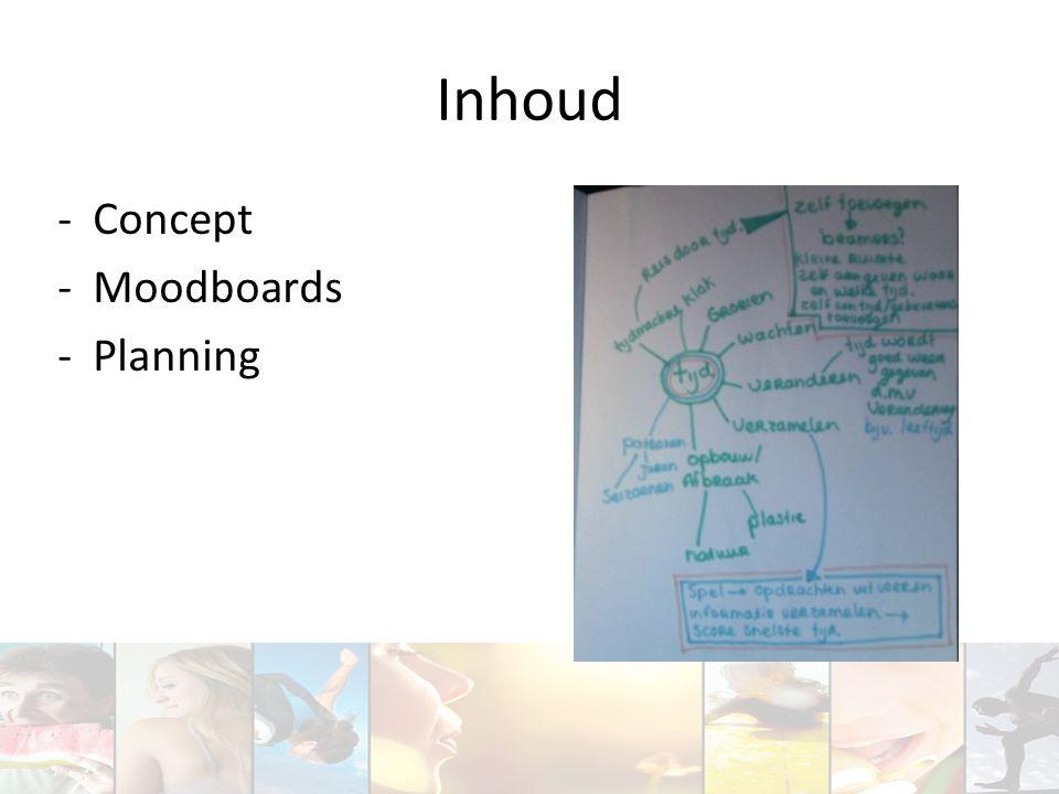Inhoud -Concept -Moodboards -Planning