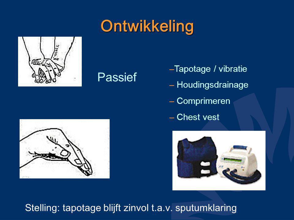 Ontwikkeling Passief –Tapotage / vibratie – Houdingsdrainage – Comprimeren – Chest vest Stelling: tapotage blijft zinvol t.a.v. sputumklaring