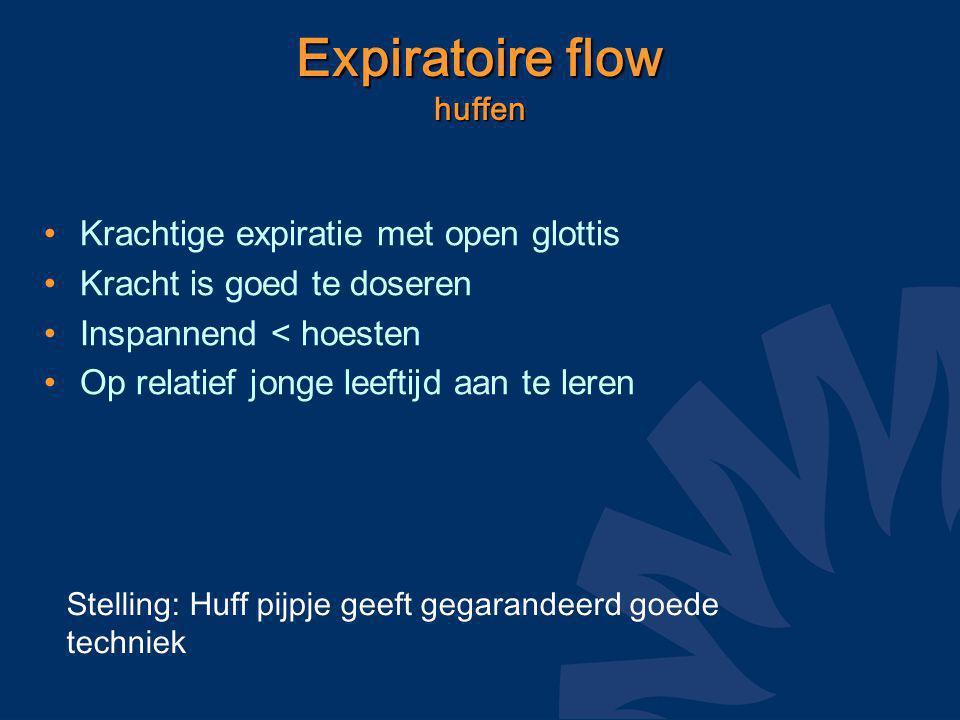 Expiratoire flow huffen Krachtige expiratie met open glottis Kracht is goed te doseren Inspannend < hoesten Op relatief jonge leeftijd aan te leren Stelling: Huff pijpje geeft gegarandeerd goede techniek