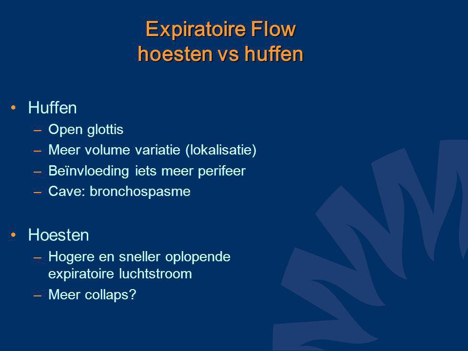 Expiratoire Flow hoesten vs huffen Huffen –Open glottis –Meer volume variatie (lokalisatie) –Beïnvloeding iets meer perifeer –Cave: bronchospasme Hoesten –Hogere en sneller oplopende expiratoire luchtstroom –Meer collaps?