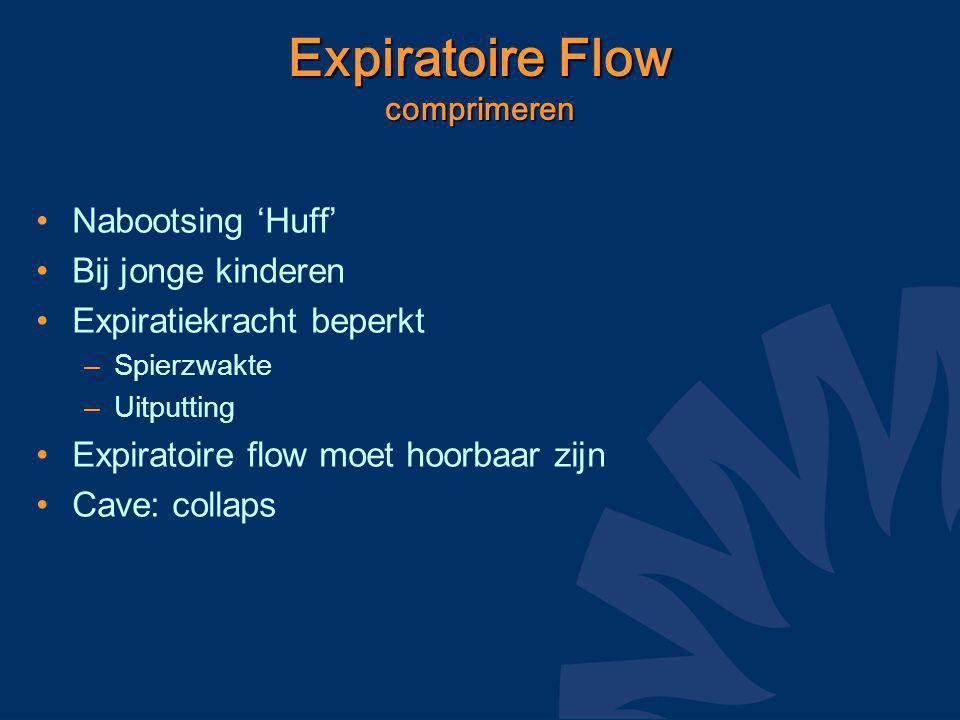 Expiratoire Flow comprimeren Nabootsing 'Huff' Bij jonge kinderen Expiratiekracht beperkt –Spierzwakte –Uitputting Expiratoire flow moet hoorbaar zijn