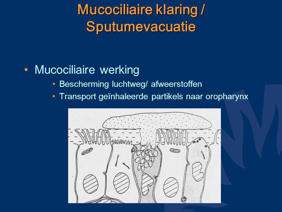 Mucociliaire klaring / Sputumevacuatie Mucociliaire werking Bescherming luchtweg/ afweerstoffen Transport geïnhaleerde partikels naar oropharynx