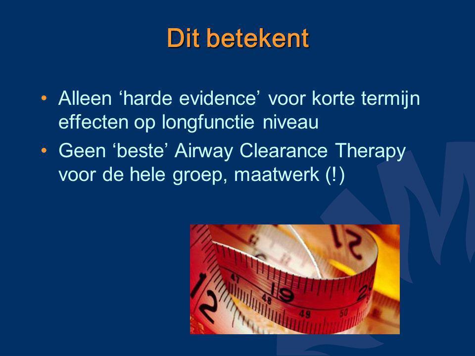 Dit betekent Alleen 'harde evidence' voor korte termijn effecten op longfunctie niveau Geen 'beste' Airway Clearance Therapy voor de hele groep, maatwerk (!)