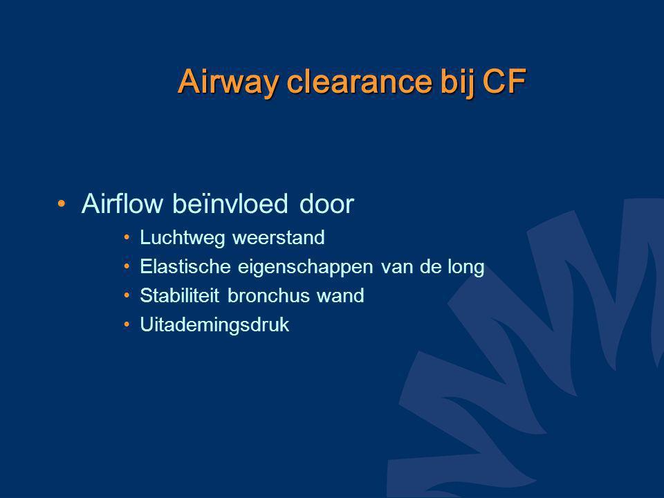 CentraalPerifeer Mucusproductie Ciliair transport Transport door luchtstroming Luchtweglocatie Airway clearance bij CF