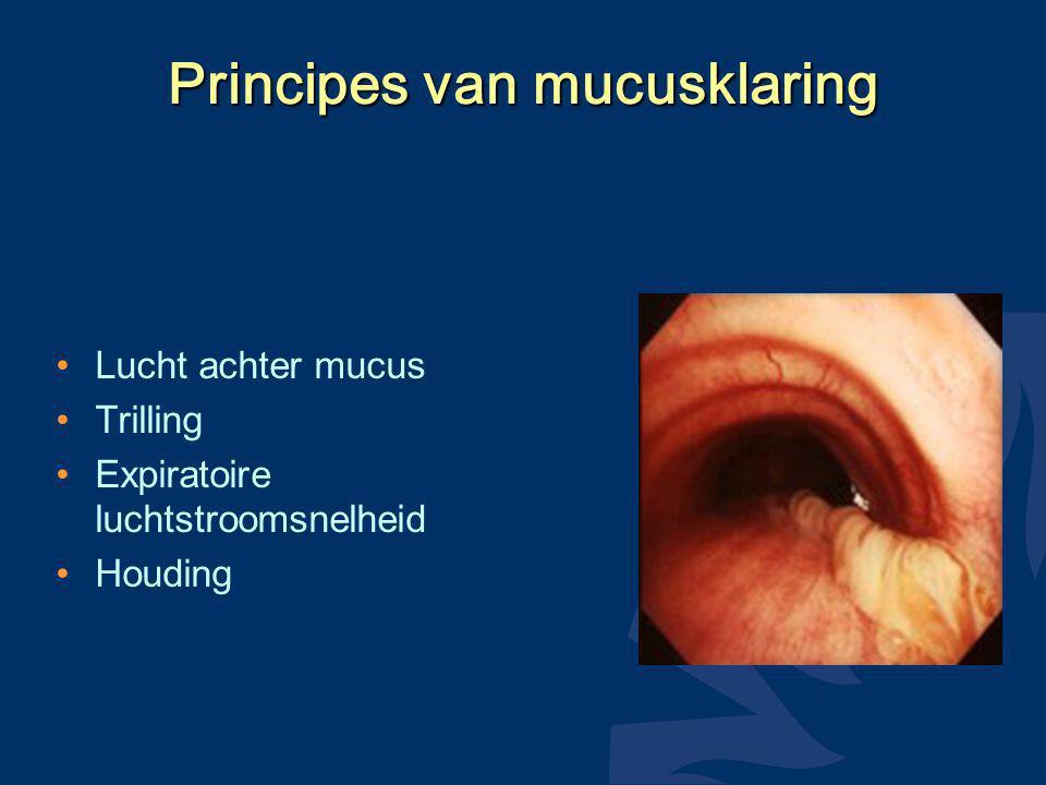 Principes van mucusklaring Lucht achter mucus Trilling Expiratoire luchtstroomsnelheid Houding