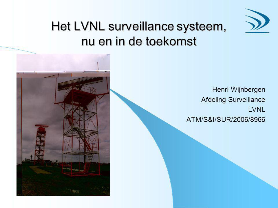 Het LVNL surveillance systeem, nu en in de toekomst Henri Wijnbergen Afdeling Surveillance LVNL ATM/S&I/SUR/2006/8966