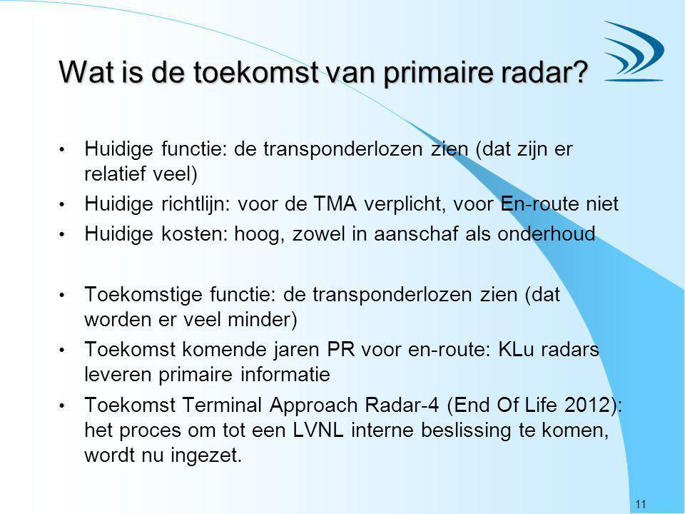 11 Wat is de toekomst van primaire radar? Huidige functie: de transponderlozen zien (dat zijn er relatief veel) Huidige richtlijn: voor de TMA verplic