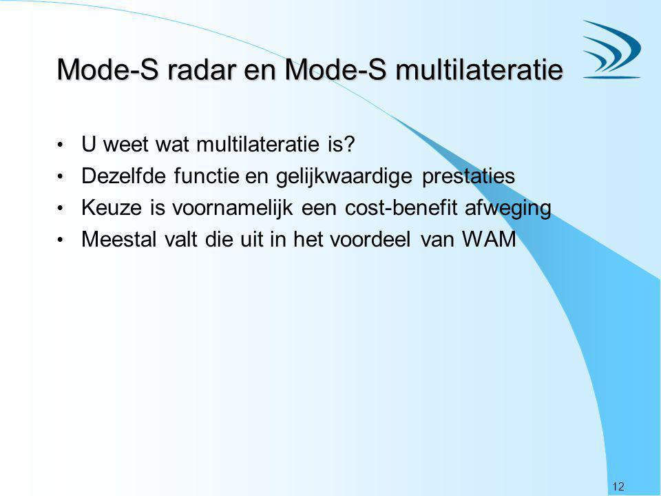 12 Mode-S radar en Mode-S multilateratie U weet wat multilateratie is? Dezelfde functie en gelijkwaardige prestaties Keuze is voornamelijk een cost-be
