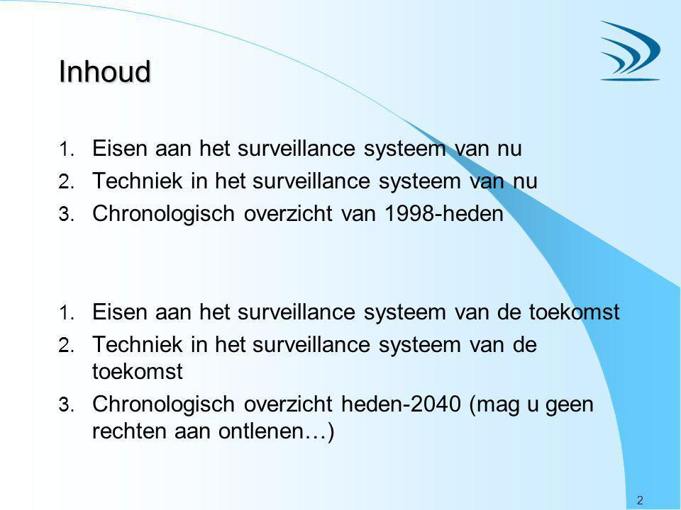 2 Inhoud 1. Eisen aan het surveillance systeem van nu 2. Techniek in het surveillance systeem van nu 3. Chronologisch overzicht van 1998-heden 1. Eise