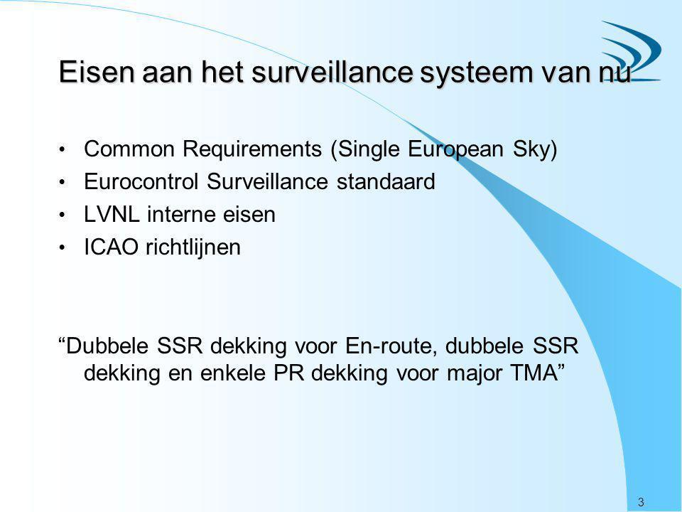 3 Eisen aan het surveillance systeem van nu Common Requirements (Single European Sky) Eurocontrol Surveillance standaard LVNL interne eisen ICAO richtlijnen Dubbele SSR dekking voor En-route, dubbele SSR dekking en enkele PR dekking voor major TMA
