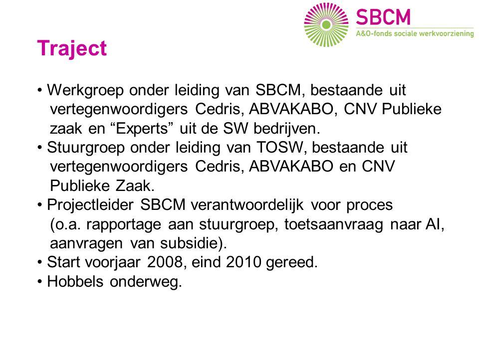 """Traject Werkgroep onder leiding van SBCM, bestaande uit vertegenwoordigers Cedris, ABVAKABO, CNV Publieke zaak en """"Experts"""" uit de SW bedrijven. Stuur"""