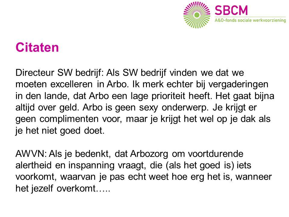 Arbo en imago (1) Citaten Directeur SW bedrijf: Als SW bedrijf vinden we dat we moeten excelleren in Arbo.