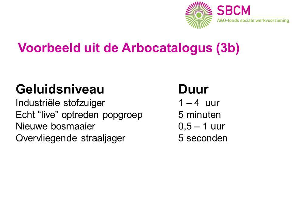 """Arbo en imago (3) Geluidsniveau Industriële stofzuiger Echt """"live"""" optreden popgroep Nieuwe bosmaaier Overvliegende straaljager Duur 1 – 4 uur 5 minut"""