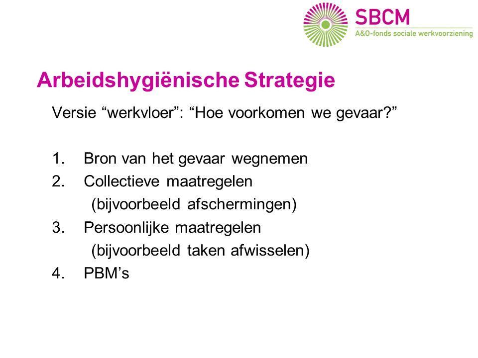 Arbeidshygiënische Strategie Versie werkvloer : Hoe voorkomen we gevaar? 1.Bron van het gevaar wegnemen 2.Collectieve maatregelen (bijvoorbeeld afschermingen) 3.Persoonlijke maatregelen (bijvoorbeeld taken afwisselen) 4.PBM's