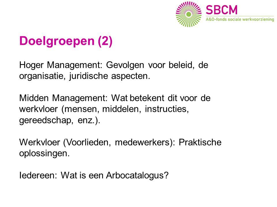 Doelgroepen (2) Hoger Management: Gevolgen voor beleid, de organisatie, juridische aspecten. Midden Management: Wat betekent dit voor de werkvloer (me