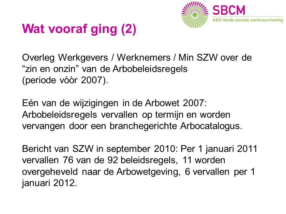 Wat vooraf ging (2) Overleg Werkgevers / Werknemers / Min SZW over de zin en onzin van de Arbobeleidsregels (periode vòòr 2007).