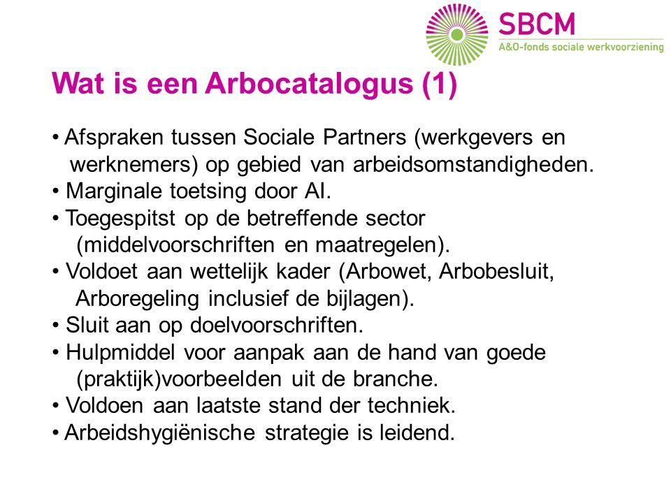 Wat is een Arbocatalogus (1) Afspraken tussen Sociale Partners (werkgevers en werknemers) op gebied van arbeidsomstandigheden. Marginale toetsing door
