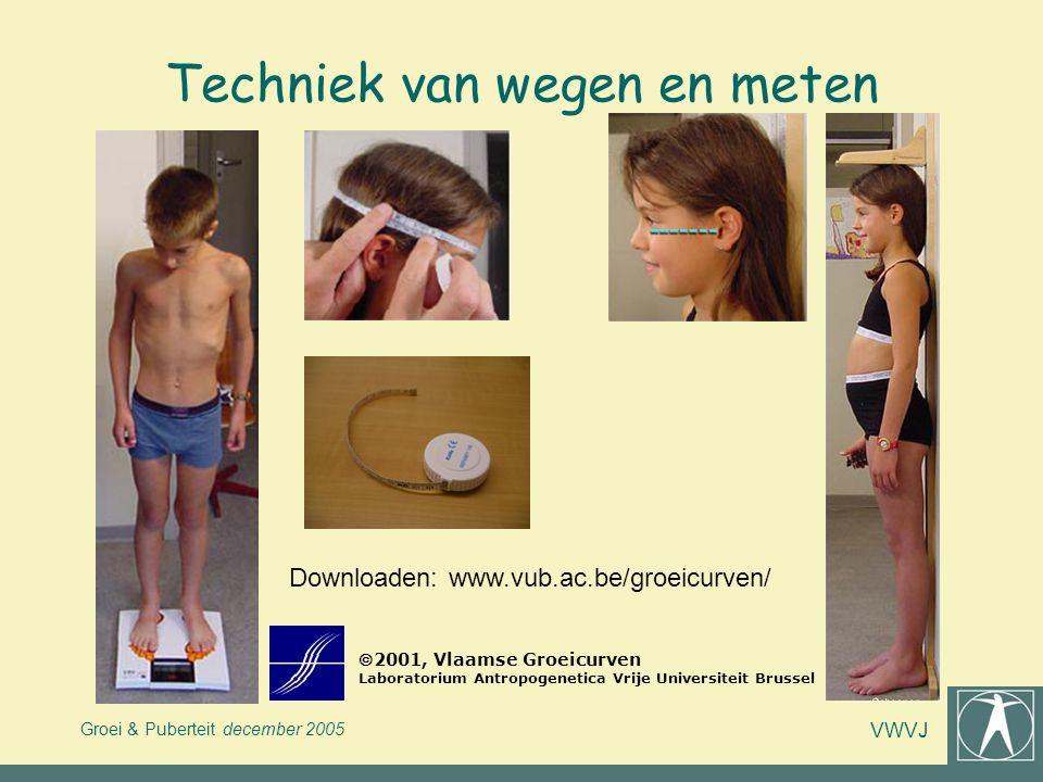 Groei & Puberteit december 2005 VWVJ Techniek van wegen en meten 2001, Vlaamse Groeicurven Laboratorium Antropogenetica Vrije Universiteit Brussel Do