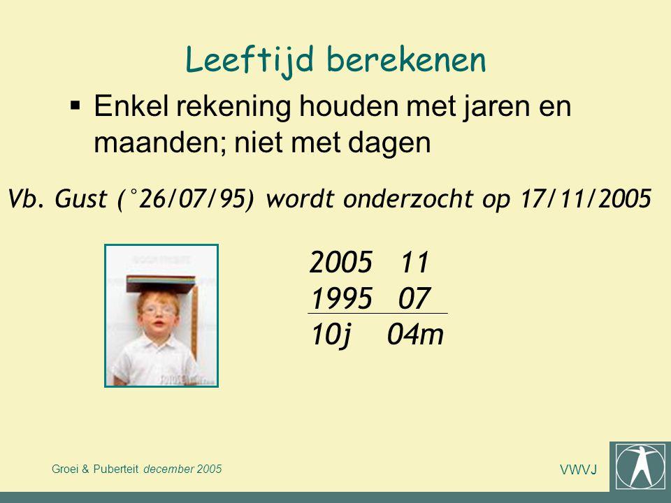 Groei & Puberteit december 2005 VWVJ Leeftijd berekenen  Enkel rekening houden met jaren en maanden; niet met dagen Vb. Gust (°26/07/95) wordt onderz