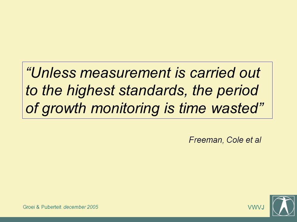 Groei & Puberteit december 2005 VWVJ Betrouwbaarheid van een meetresultaat = De mate waarin het resultaat van herhaalde metingen, uitgevoerd door dezelfde of andere personen, identiek blijft.