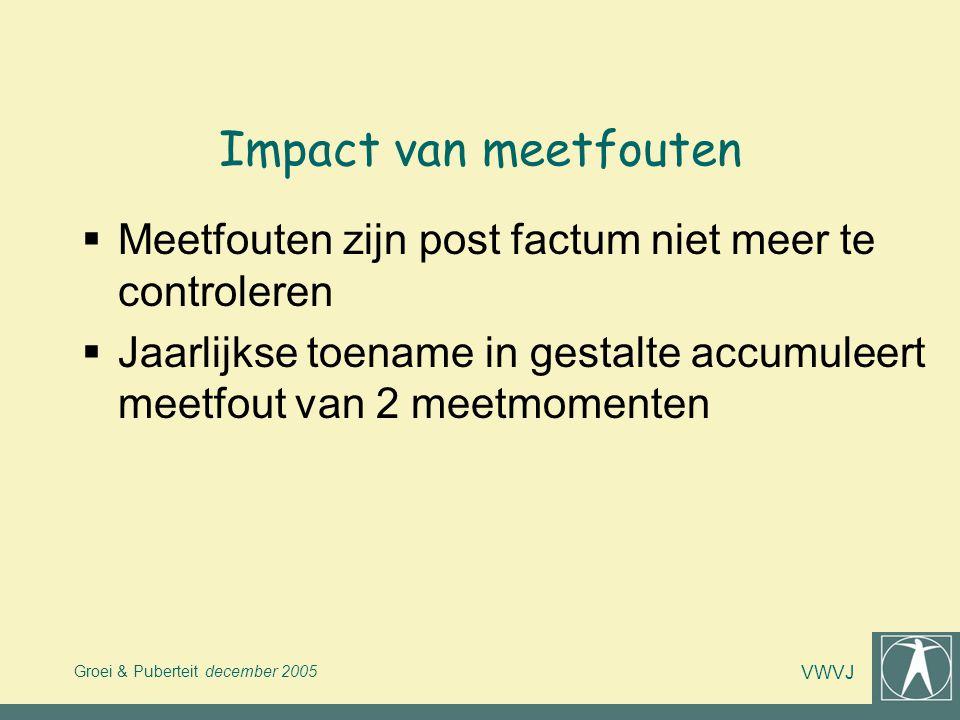 Groei & Puberteit december 2005 VWVJ Impact van meetfouten  Meetfouten zijn post factum niet meer te controleren  Jaarlijkse toename in gestalte acc