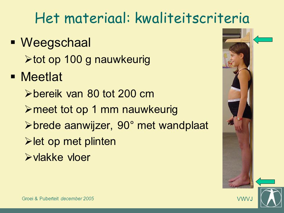 Groei & Puberteit december 2005 VWVJ Het materiaal: kwaliteitscriteria  Weegschaal  tot op 100 g nauwkeurig  Meetlat  bereik van 80 tot 200 cm  m