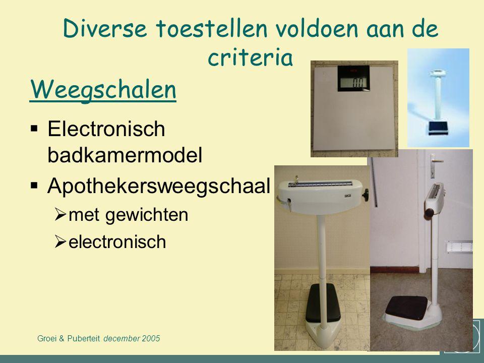Groei & Puberteit december 2005 VWVJ Diverse toestellen voldoen aan de criteria  Vaste modellen  Voor transport, vb:  monteerbare Harpenden  microtoise rollint Meetlatten