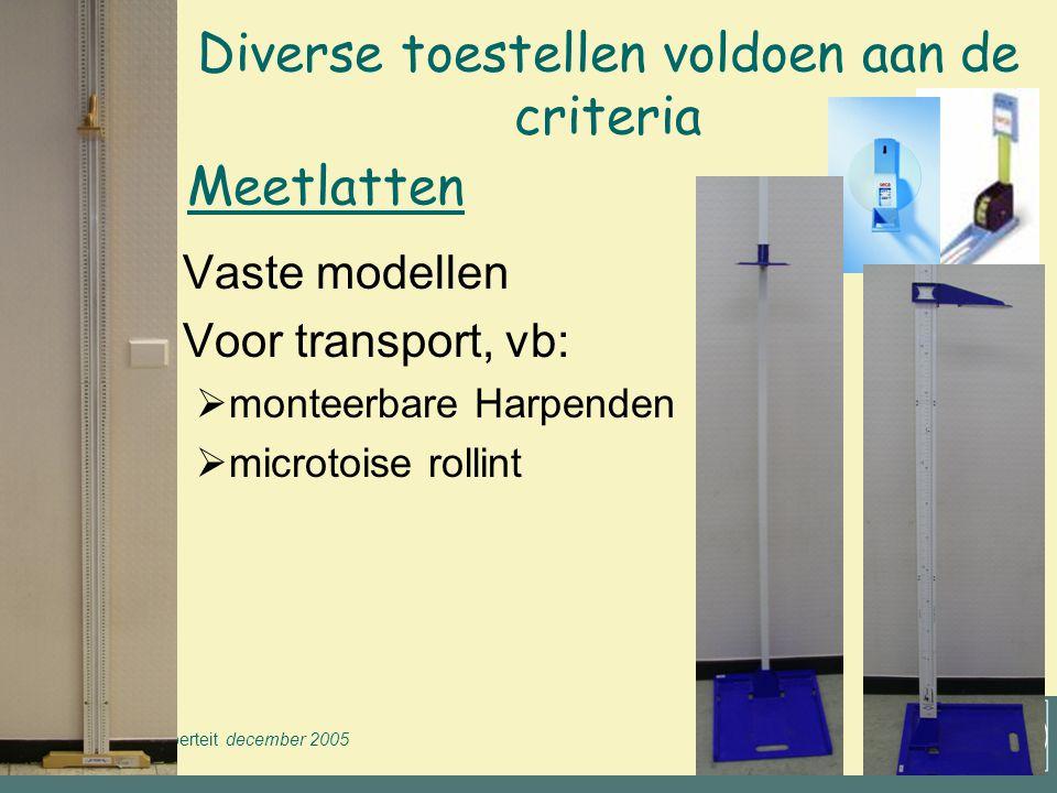 Groei & Puberteit december 2005 VWVJ Materiaal voor diverse lokaties  In het centrum  in de school  vast lokaal  wisselend lokaal  transporteerbaar materiaal (volume & gewicht)