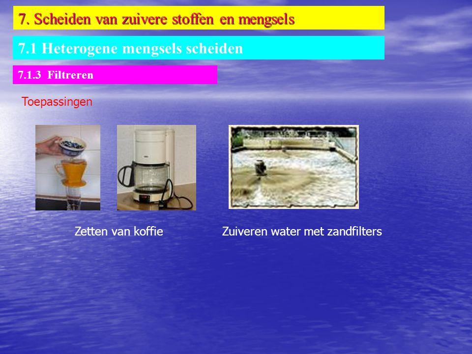 7. Scheiden van zuivere stoffen en mengsels 7.1 Heterogene mengsels scheiden 7.1.3 Filtreren Toepassingen Zuiveren water met zandfiltersZetten van kof