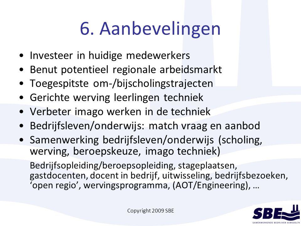 Copyright 2009 SBE 6. Aanbevelingen Investeer in huidige medewerkers Benut potentieel regionale arbeidsmarkt Toegespitste om-/bijscholingstrajecten Ge