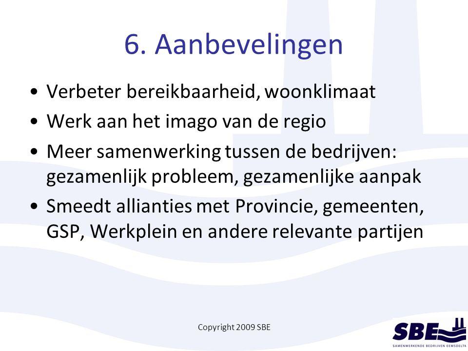 Copyright 2009 SBE 6. Aanbevelingen Verbeter bereikbaarheid, woonklimaat Werk aan het imago van de regio Meer samenwerking tussen de bedrijven: gezame