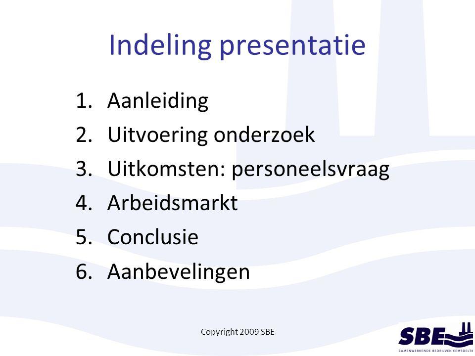 Copyright 2009 SBE Indeling presentatie 1. Aanleiding 2. Uitvoering onderzoek 3. Uitkomsten: personeelsvraag 4.Arbeidsmarkt 5.Conclusie 6.Aanbevelinge